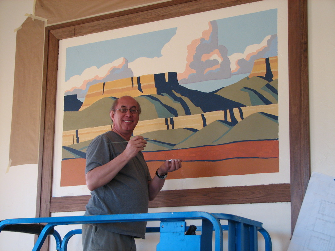 Paul Painting A Mural At The Ivory Homes Offices In St. George, UT.